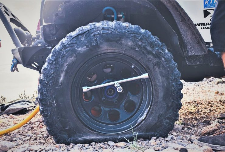 Flat tire on off road vheicle