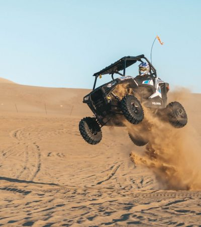 UTV jumping in desert