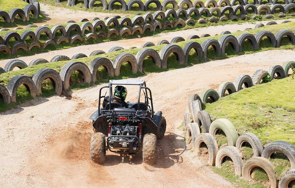 Kids UTV racing on track