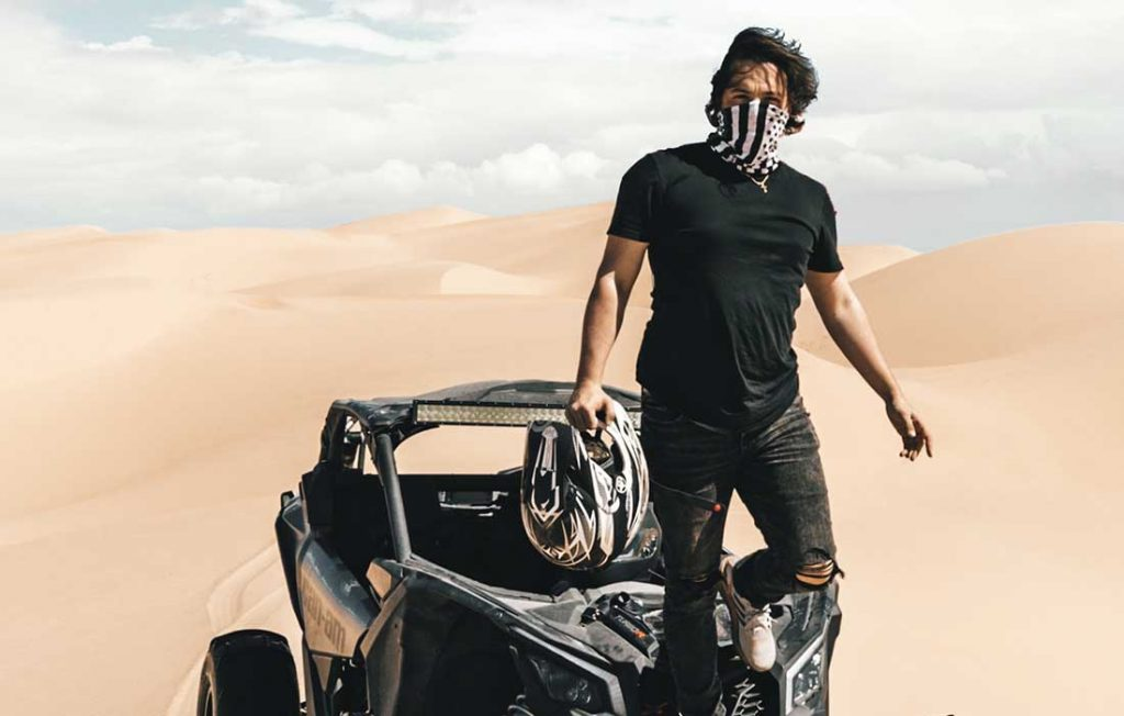 Face mask when riding in sand and dust